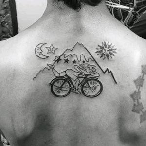 #AlbertHofmann #LSD #Trippy #Travel #Bicycle #Moon #Sun #Illustrative #LineWork #Black #Back