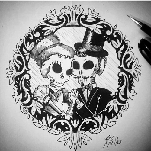 Até que a morte os separe. Não... Pera... #skull #love #tattoo #tattoo2me #desenho #art #drawing #drawing2me #tatowierung #t4ttoois #tatouage #tonoinsptattoos #tattoodo #tattoobrasil