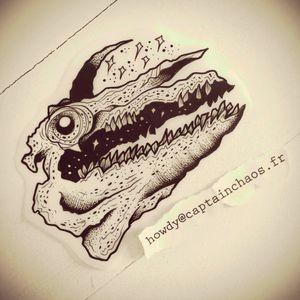 My new tattoo :) #skull #crocodile #tattoo #blackline #blackwork #linework #line #space #stars #mattchaos