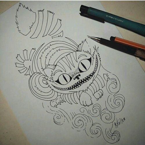 Pronto pra brincar com aquarela!!! #drawing2me #drawing #tattoo2me #tattoo #cheshire #tatowierung #t4ttoois #tatouage #tonoinsptattoos #tattoodo #tattoobrasil