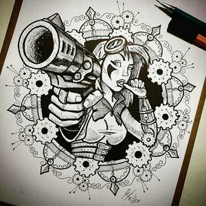 Terminado!!! 😅 #draw2me #drawing #woman #revolver #steampunk #mulher #girlpower #desenho #dibujo #tattoo2me #tattoo #gun #armadefogo #gears #engrenagens #tatowierung #t4ttoois #tatouage #tonoinsptattoos #tattoodo #tattoobrasil #tattooart #tattooartist #tattooflash #tattooist #inked #inkedup #tatts #inkedlife #instagood