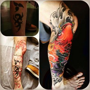 A Picture from my cover up #first #tribal #tribalcoverup #koi #koifishtattoo #badasfuck #mobileinkstitution #hannover #follow4follow