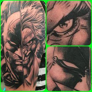 "Amazing Batman & Joker tattoo by ""Sausage"" 👌 #batman #joker #batmanandjoker #Sausage #comics #dccomics"
