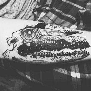 My new tattoo 😍 The Galactigator 🐊🌌 #tattoo #alligator #tattoodo #blackline #ink #inkedgirls #space #blacktattoo #mattchaos #mattchaostattoo #beautiful #pretty #awesome #btattooing #occulttattoo #onlythedarkest #dark #skull #horn #stars