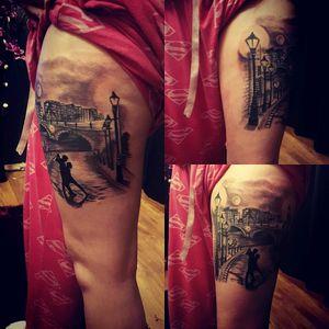 Leg piece finished 👌 #dancerpose #love #tattooaddiction #romancetattoo #blackAndWhite #moon