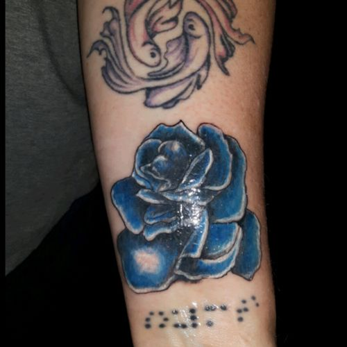 """Blue rose, braille """"soulmate"""", snd pisces using beta fish."""