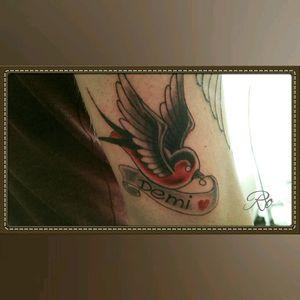 Swallow name tattoo #swallow #birds #stigmarotary #inkeezegreenglide #silverbackink #intenzeink #Criticalpowersupply #killerinktattoosupplies