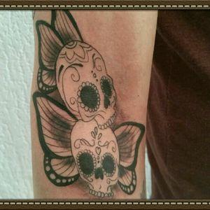 Muertos butterfly #tattoo #butterfly #blackandgrey #sugarskull  #cheyennehawk  #silverbackink #inkeezegreenglide #Criticalpowersupply #spiritstencil #killerinktattoosupplies