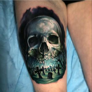 Cool #skull and #graveyard by #PaulAcker #cemetery