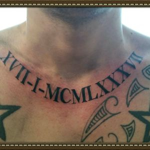 Roman date tattoo  (other tattoo not my work) #romannumbers #tattoo #stigmarotary #stencilstuff #spiritstencil  #inkeezegreenglide #silverbackink #Criticalpowersupply #killerinktattoosupplies