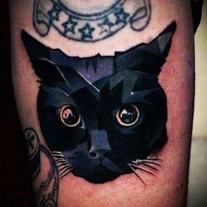 #tattoo #design #tattoodesign #color #colour #art #bodyart #idea #cat #black #blackcat #geomeric #shape #kitten #pet black cat tattoo by an unknown artist. ☺