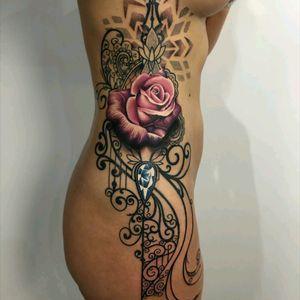 By #ryansmith #rose #dotwork #geometric #jewel #ornamental