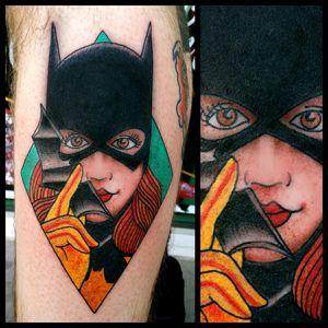 Batgirl #inkfusion #inkfusionempire #geektattoo #geekedouttattoos #geeksterink #geekytattoos #comicbooktattoo #nerdytattoos #nerdtattoo #nerd #traditionaltattoo #realtattoos #realtraditional #tattoos #dccomicstattoo #dccomics #batman #batmantattoo #batgirl #batgirltattoo #oracle