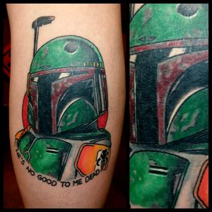 Boba Fett #inkfusion #inkfusionempire #geektattoo #geekedouttattoos #geeksterink #geekytattoos #comicbooktattoo #nerdytattoos #nerdtattoo #nerd #traditionaltattoo #realtattoos #realtraditional #tattoos #starwarstattoo #starwars #bobafetttattoo #bobafett #empirestrikesback