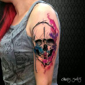 Another great skull tattoo by brazilian artist @Chrissantos #skull #caveira #aquarela #watercolor #colorful #colorida #tatuadoresdobrasil #brazilianartist #ChrisSantos