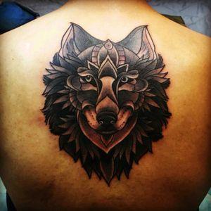 #wolf #wolftattoo #neo #fullblack #mandala #animal #backtattoo