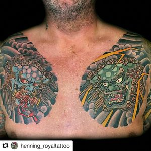 Foo dog heads by @henningjorgensen  For info or bookings pls contact us at art@royaltattoo.com or call us at + 45 49202770 #royal #royaltattoo #royaltattoodk #royalink #royaltattoodenmark #thedane #thegreatdane #japanese #foodog #colortattoo #chest