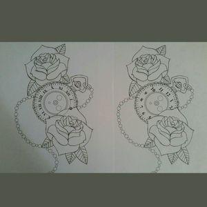 Rose and clock design #tattoodesign #drawing #art #roses #clock