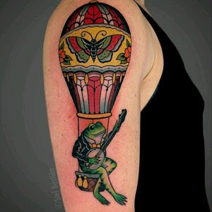 Flying frog by @stefbastian  For info or bookings pls contact us at art@royaltattoo.com or call us at + 45 49202770 #royal #royaltattoo #royaltattoodk #royalink #royaltattoodenmark #ballon #airballon #frog #banjo #butterfly