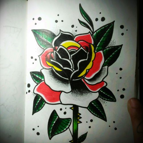 #tattoo #traditional_tattoo #tradicional #tradiciomalamericano #rosa #rosetatto #skech