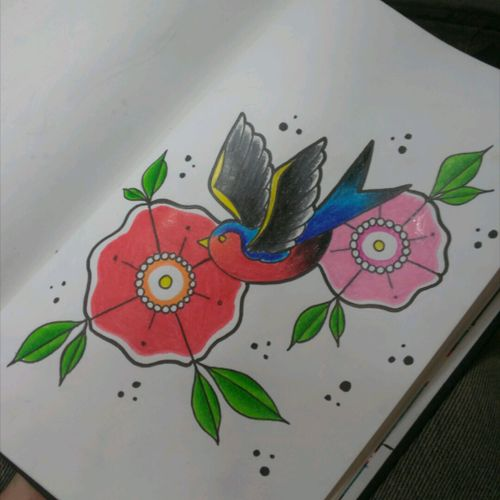 #tradi #traditional_tattoo #americantattoo #tattoo #Golondrina #flores