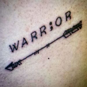 My Semicolon/arrow tattoo to support and represent my mental health issues. Getting stronger by the day. #tattoo #warrior #semicolon #arrow #chest