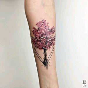 By #YelizÖzcan #watercolor #cherryblossom #watercolortattoo