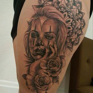 Done today #tattoo #clowngirl @Skindeep_Tattoo #totaltattoo #skindeep #mandala #silverbackinkinstablack
