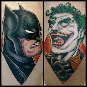 Batman and Joker #inkfusion #inkfusionempire #geektattoo #geekedouttattoos #geeksterink #geekytattoos #comicbooktattoo #nerdytattoos #nerdtattoo #nerd #traditionaltattoo #realtattoos #realtraditional #tattoos #dccomicstattoo #dccomics #batman #batmantattoo #joker #jokertattoo #thekillingjoke #thekillingjoketattoo