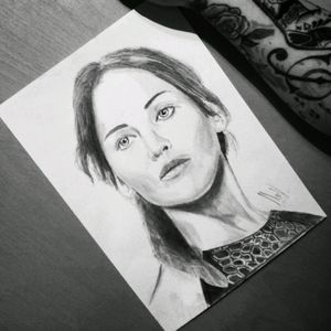 Sketch I made of Jennifer Lawrence📝 #sketch #sketching #draw #drawing #blackandgrey #pencilart #hungergames #jenniferlawrence #original #realistic