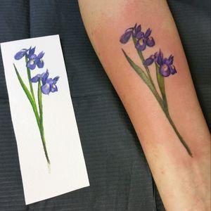 Iris, watercolour #flowertattoo #floraltattoo #botanicaltattoo #watercolourtattoo #watercolour #aquarell #colour