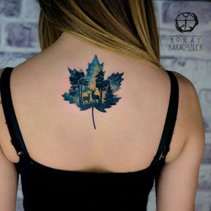 By #koraykaragozler #watercolor #deer #forest #mapleleaf #canada #nature #watercolortattoo