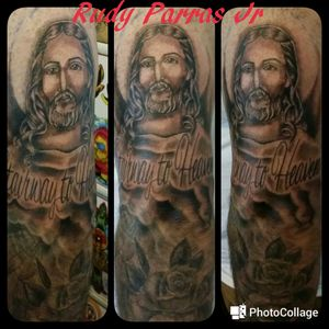 Half sleeve religious tattoo I did with my God's given talent :) # jesus #rudyparrasjr #clouds #letters#blackandgrey