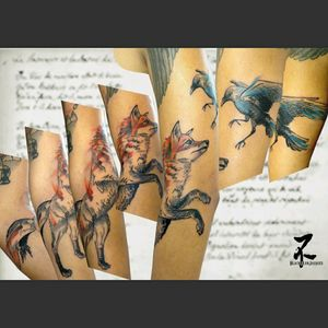 The Fox and the Crow's tale written by Jean de la Fontaine #renard #fox #redfox #corbeau #crow #raven #foxandcrow #tale #litterature #france #jeandelafontaine #frenchculture #sketch #sketchtattoo #graphictattoo #drawing #tattoo #tatouage #tattooart #tattooartist #zeldabjj #zeldablackjeanjacques #tatts