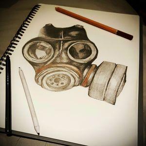 WWII Mask by A.Rey #war #gasmask #gasmasktattoo #juststarted #progression