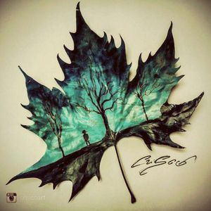 Double exposure painting, thought it'd be cool idea for a tattoo!  #leaf #doubleexposure #blue