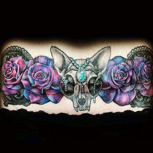 Scar covering. #coverup #scarscoverup #cat #skull #animal #catskull #flowers #roses #blondes