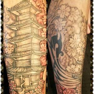 #tribalmike #inked #lotus #blackandgrey #cherryblossom #temple