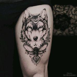 By #DianaSeverinenko #wolf #dotwork #blackwork #wolftattoo