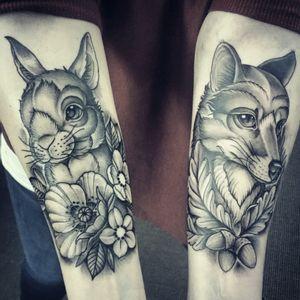 2 tattoos I did in Hamburg. 2 sessions,  1 week.  #fox #foxtattoo #bunny #rabbit #neotraditional #neotraditionaltattoo #blackandgrey #animaltattoos