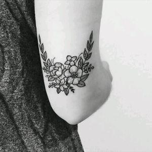 #flowers #small #armtattoo #elbow #blacklines #blackandgreytattoo  #pretty