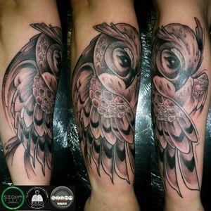 #blackandgrey #owltattoo #sketchstyletattoo #forearm #tattoo #art #artist #tattmandos
