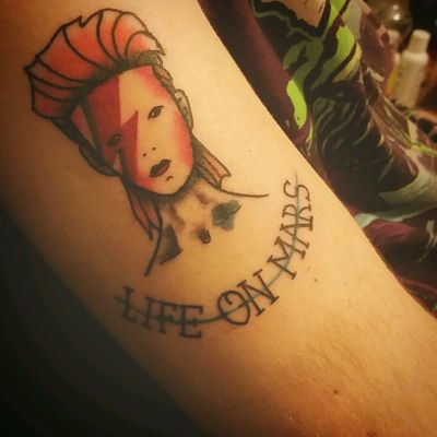 My david bowie tattoo done my friends at inkslingers #tattoo #davidbowie