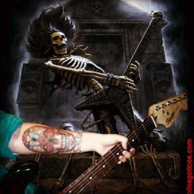 Heavy metal skeleton & mexican sugar skull by Tiago siez (alto astral) #HeavyMetal #mexican #sugarskull #fun