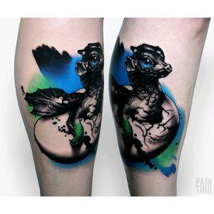 By #SyzmonGdowicz #painting #dragon #babydragon #cutetattoo #abstract