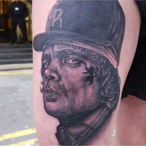 Sick peice done on myself at Liverpool tattoo convention by dude_skinz Daniel Hartley gangster style tyrion game of thrones #gameofthronestattoo #TyrionLannister #gangster #LiverpoolTattooConvention