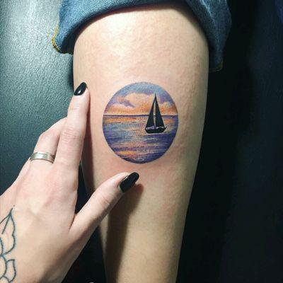 By #MariyaSummer #watercolor #boat #ocean #sunset