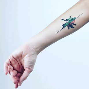 When I and my sister were around 5 years old, our grandpa did let us paint on his oil painting on canvas. She painted green bug and I did red one. After a time we decided to make a tattoo exactly like we did it when we were kids, but with one difference. We have combined half of the green and half of the red bug into one.