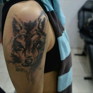 Graphite style wolf tattoo head