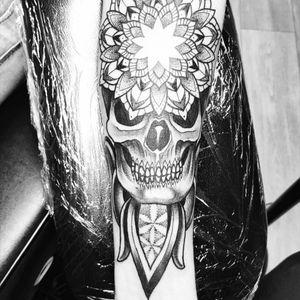 #mandala #skull #skulltattoo #blackandgrey #forearm #badasstattoo